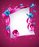 Greeting card with pink bow and blue butterfly Royalty Free Stock Image
