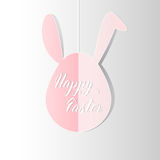 Greeting card with pink Bunny rabbit Easter egg hanging and hand. Written inscription Happy Easter. Vector illustration Royalty Free Stock Images