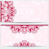 Greeting card with a pink floral pattern. Gentle east ornament a light background. Stock Image