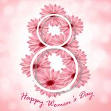 Greeting card with pink flowers on the day of March 8. Greeting card with pink flowers and the white number eight on the day of March 8 Stock Photo