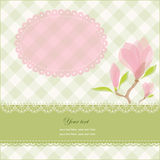 Greeting card with pink magnolia flowers Stock Image