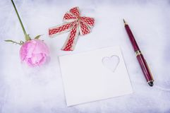Greeting card with pink rose and fill or empty copy space. Stock Photography