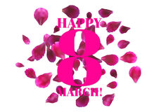 Greeting card with pink rose petals and ribbon. 8 march - woman's day. 8 March International Women's Day greeting card with flying pink petals. Vector Royalty Free Stock Images