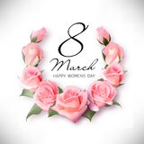 Greeting card with pink rose petals and ribbon. 8 march - woman`s day. Greeting card with realistic pink rose flowers 8 march - woman`s day Stock Photo