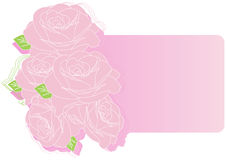 Greeting card with pink roses. Illustration stock illustration