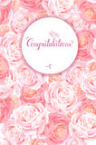 Greeting card with the pink roses background. Composition with blossom flowers and lettering with round banner and place Royalty Free Stock Photos