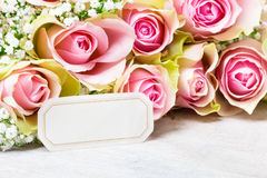 Greeting Card, pink roses Stock Image