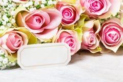 Greeting Card, pink roses Stock Image
