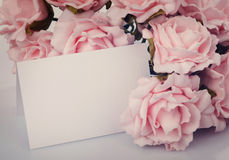 Greeting card with pink roses Royalty Free Stock Image