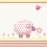 Greeting card with pink sheep Stock Photos