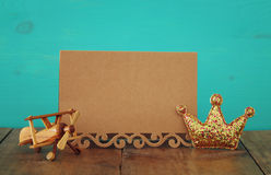 greeting card, plane toy and glitter king crown. Father& x27;s day concept Stock Photos