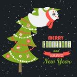 Greeting card, polar bear climbed the Christmas. Vector greeting card, polar bear climbed the Christmas tree Royalty Free Illustration