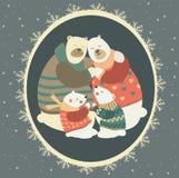 Greeting card, polar bear family celebrating Stock Image