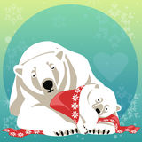 Greeting Card with Polar bear family Royalty Free Stock Images