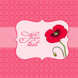 Greeting card with poppy flower Royalty Free Stock Image