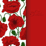 Greeting card with poppy flowers pattern Royalty Free Stock Images