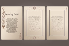 Greeting card. Postcard beige background vector. Template postcard, boho style. Stock Image