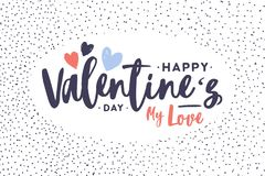 Greeting card or postcard template with Happy Valentine s Day My Love holiday romantic wish decorated with hearts inside. Dotted frame on white background Royalty Free Stock Images