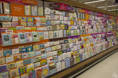 Greeting card postcards. Greeting cards occupy a big section of a big supermarket near Seattle. It is a growing business despite the growth of e-cards Royalty Free Stock Image
