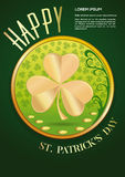 Greeting card, poster design for St. Patricks Day. Happy St. Patricks Day. Greeting card, poster design with gold coins and a large golden clover. Vector Royalty Free Stock Images