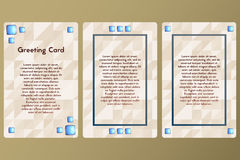 Greeting card with precious stones. Postcard beige color with triangles. Template cards with lapis lazuli. Stock Photo