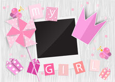 Greeting card for princess girl. Pinwheel, crown, gift box, phot Stock Image