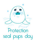 Greeting card Protection seal pups Royalty Free Stock Photos