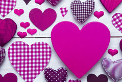 Greeting Card With Pruple Heart Texture, Copy Space Stock Image