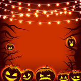 Greeting card pumpkin and dark trees Halloween Royalty Free Stock Photo