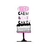 Greeting card with quote about cakes. Royalty Free Stock Photography