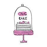 Greeting card with quote about cakes. Stock Photography