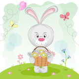 Greeting card rabbit in the meadow carrying a basket of flowers. Stock Photo