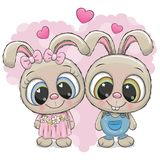 Rabbits boy and girl on a heart background. Greeting card Rabbits boy and girl on a heart background vector illustration