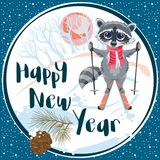 Happy New Year and Merry Christmas 2018_41. Greeting card with a raccoon riding on skis in winter forest with a pine cone. Vector illustration great for Royalty Free Stock Photography