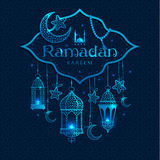 Greeting Card Ramadan Kareem. Design with lamps and moons