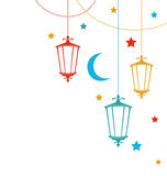 Greeting Card for Ramadan Kareem with Lamps Stock Images