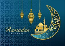 Greeting card for Ramadan month royalty free illustration