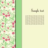 Greeting card with raspberries and green leaves Stock Image