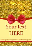 Greeting card with realistic red bow and gold glitters. Greeting card template with realistic red realistic bow and gold glitters Royalty Free Stock Photography