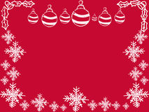 Greeting card. Red background with Christmas balls, snowflakes. Royalty Free Stock Images