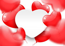 Greeting card of a red balloons in the shape of a heart. On white background. Place for your text. Vector EPS10 royalty free illustration