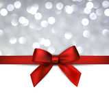 Greeting card with red bow. Stock Photography