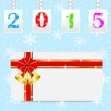 Greeting-card with a red bow and numbers 2015. Vector illustration vector illustration