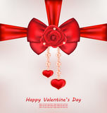 Greeting Card with Red Bow, Rose, Heart, Pearls for Valentines D Royalty Free Stock Photo