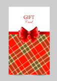 Greeting card with red bow, tartan Royalty Free Stock Photos