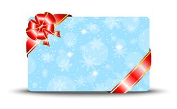 Greeting-card with a red bow Stock Photo