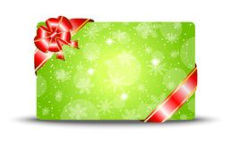 Greeting-card with a red bow Royalty Free Stock Photography