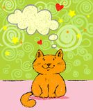 Greeting card with red cat Royalty Free Stock Images