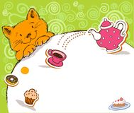Greeting card with red cat and place for text Royalty Free Stock Photos