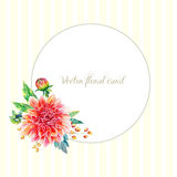 Greeting card with red dahlia. Stock Image